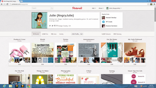 Pinterest Account Angry Julie
